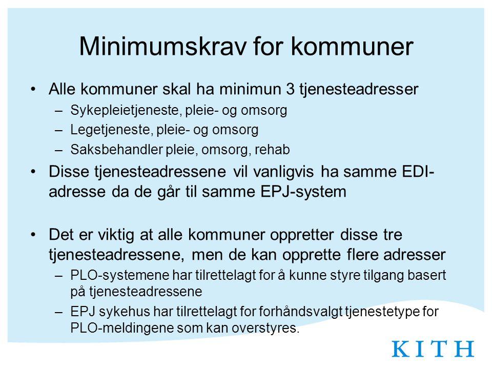 Minimumskrav for kommuner Alle kommuner skal ha minimun 3 tjenesteadresser –Sykepleietjeneste, pleie- og omsorg –Legetjeneste, pleie- og omsorg –Saksb