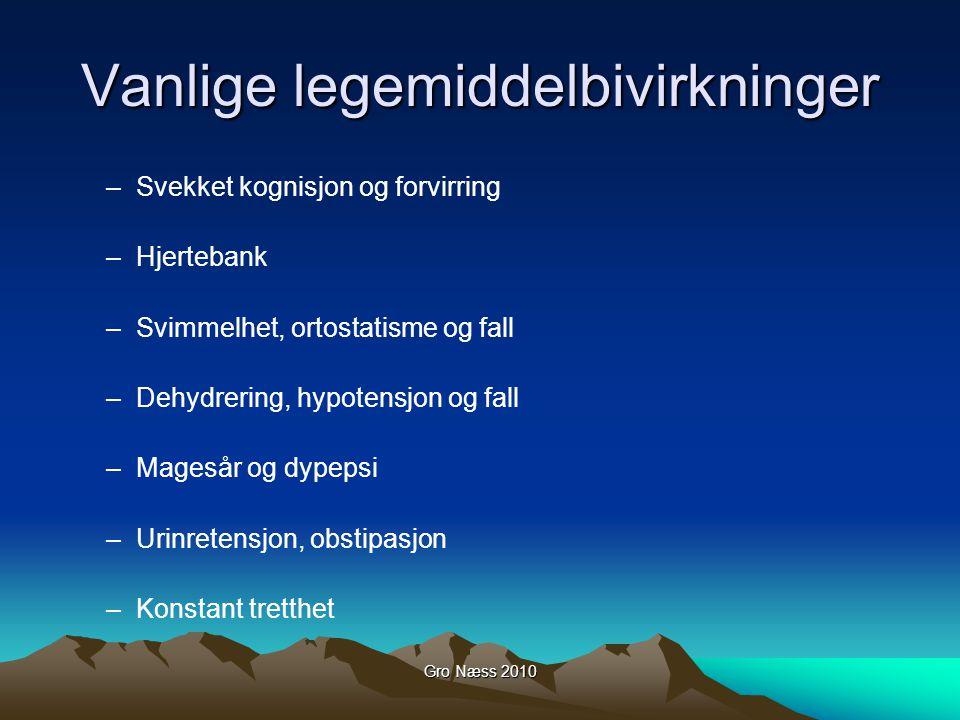 Gro Næss 2010 Vanlige legemiddelbivirkninger –Svekket kognisjon og forvirring –Hjertebank –Svimmelhet, ortostatisme og fall –Dehydrering, hypotensjon