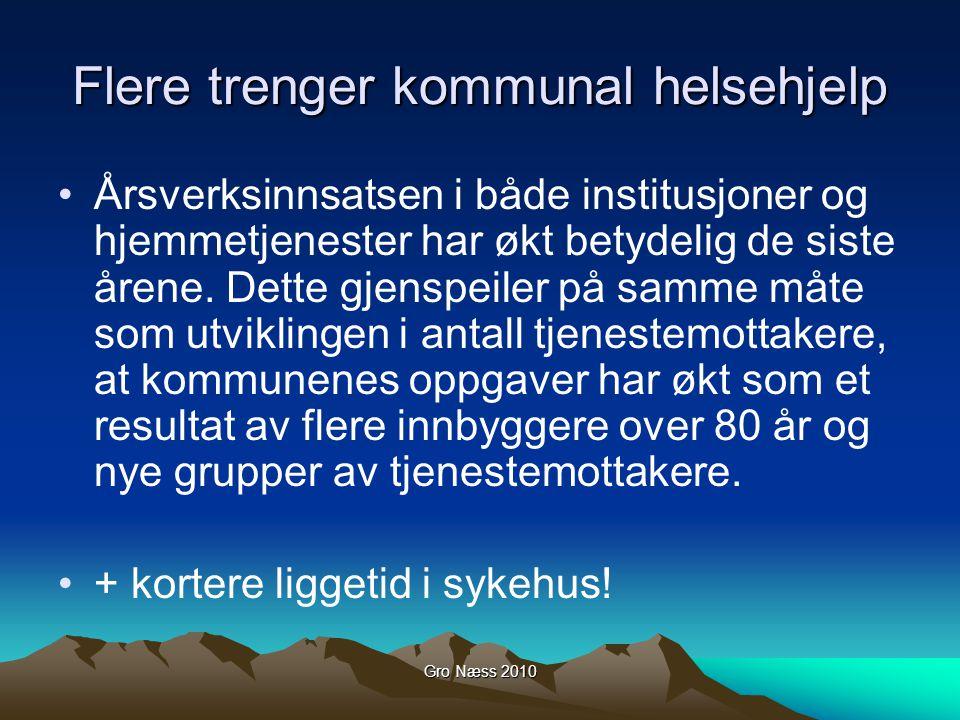 Gro Næss 2010 Flere trenger kommunal helsehjelp Årsverksinnsatsen i både institusjoner og hjemmetjenester har økt betydelig de siste årene.
