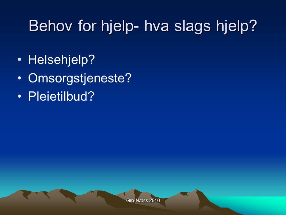 Gro Næss 2010 Behov for hjelp- hva slags hjelp? Helsehjelp? Omsorgstjeneste? Pleietilbud?