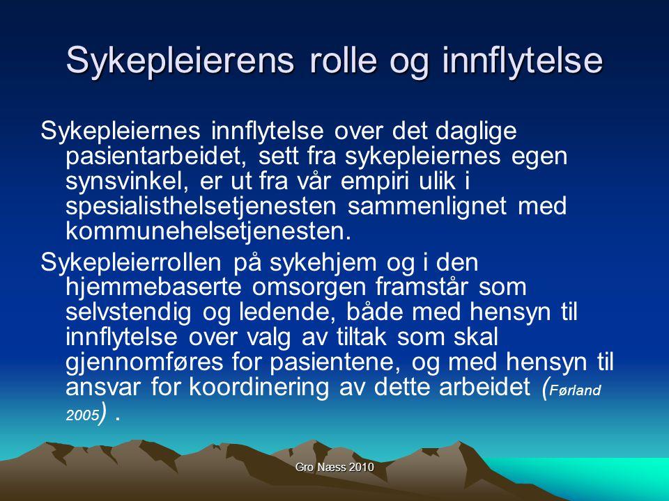 Gro Næss 2010 Sykepleierens rolle og innflytelse Sykepleiernes innflytelse over det daglige pasientarbeidet, sett fra sykepleiernes egen synsvinkel, e