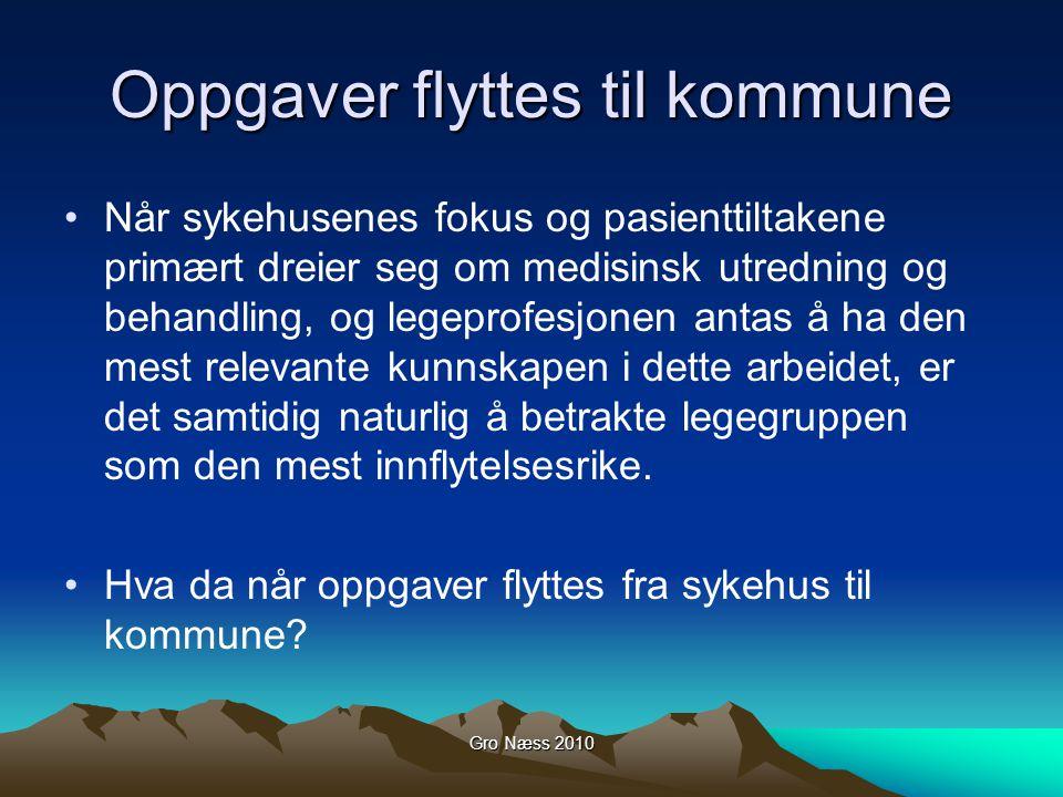 Gro Næss 2010 Oppgaver flyttes til kommune Når sykehusenes fokus og pasienttiltakene primært dreier seg om medisinsk utredning og behandling, og legep
