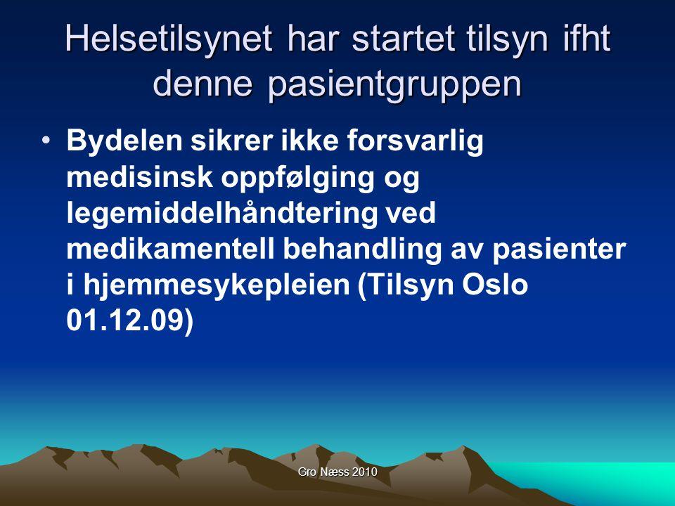 Gro Næss 2010 Helsetilsynet har startet tilsyn ifht denne pasientgruppen Bydelen sikrer ikke forsvarlig medisinsk oppfølging og legemiddelhåndtering v
