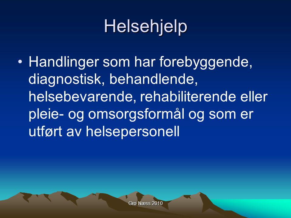 Gro Næss 2010 Helsehjelp Handlinger som har forebyggende, diagnostisk, behandlende, helsebevarende, rehabiliterende eller pleie- og omsorgsformål og s