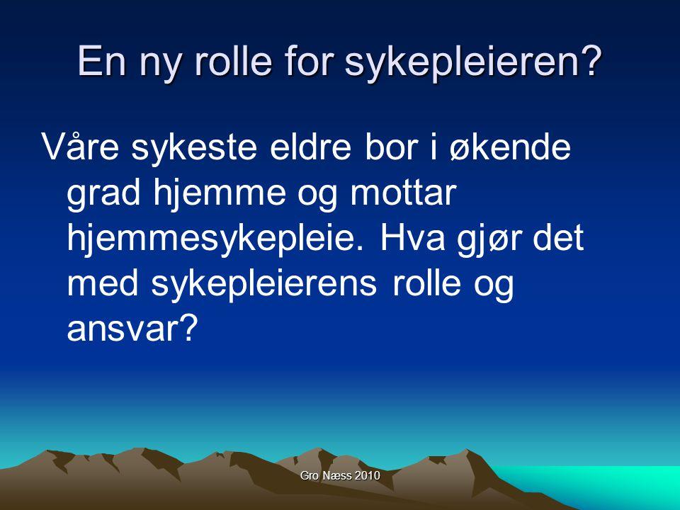Gro Næss 2010 En ny rolle for sykepleieren? Våre sykeste eldre bor i økende grad hjemme og mottar hjemmesykepleie. Hva gjør det med sykepleierens roll