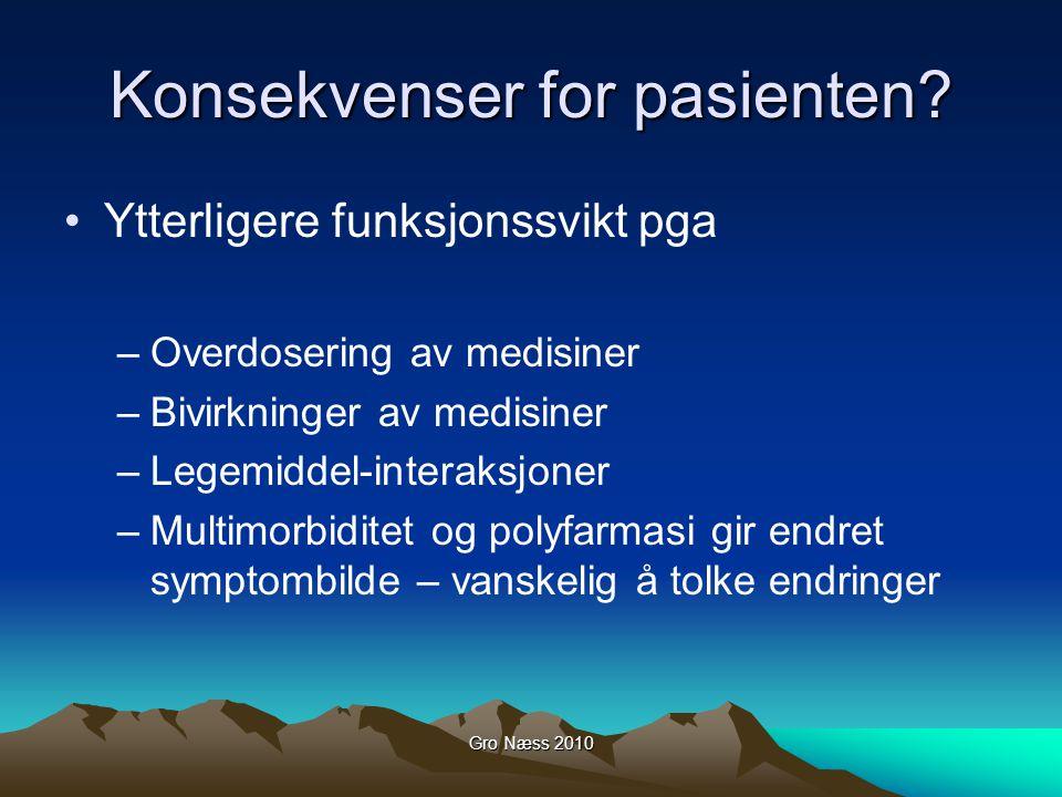 Gro Næss 2010 Konsekvenser for pasienten? Ytterligere funksjonssvikt pga –Overdosering av medisiner –Bivirkninger av medisiner –Legemiddel-interaksjon
