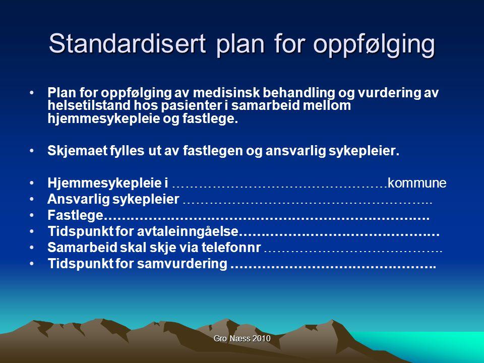 Gro Næss 2010 Standardisert plan for oppfølging Plan for oppfølging av medisinsk behandling og vurdering av helsetilstand hos pasienter i samarbeid mellom hjemmesykepleie og fastlege.