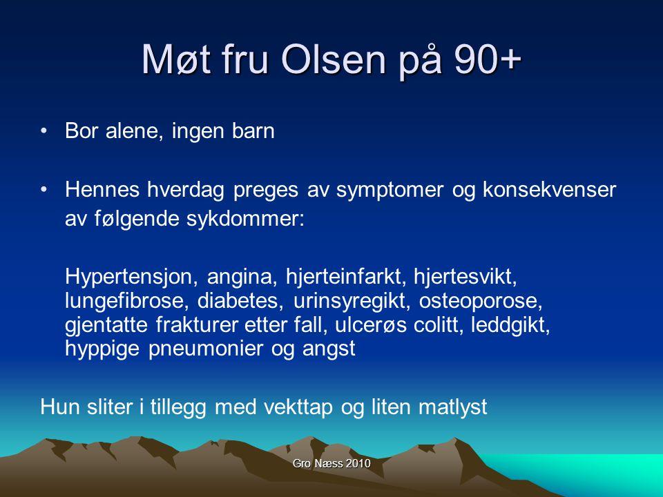 Gro Næss 2010 Møt fru Olsen på 90+ Bor alene, ingen barn Hennes hverdag preges av symptomer og konsekvenser av følgende sykdommer: Hypertensjon, angin