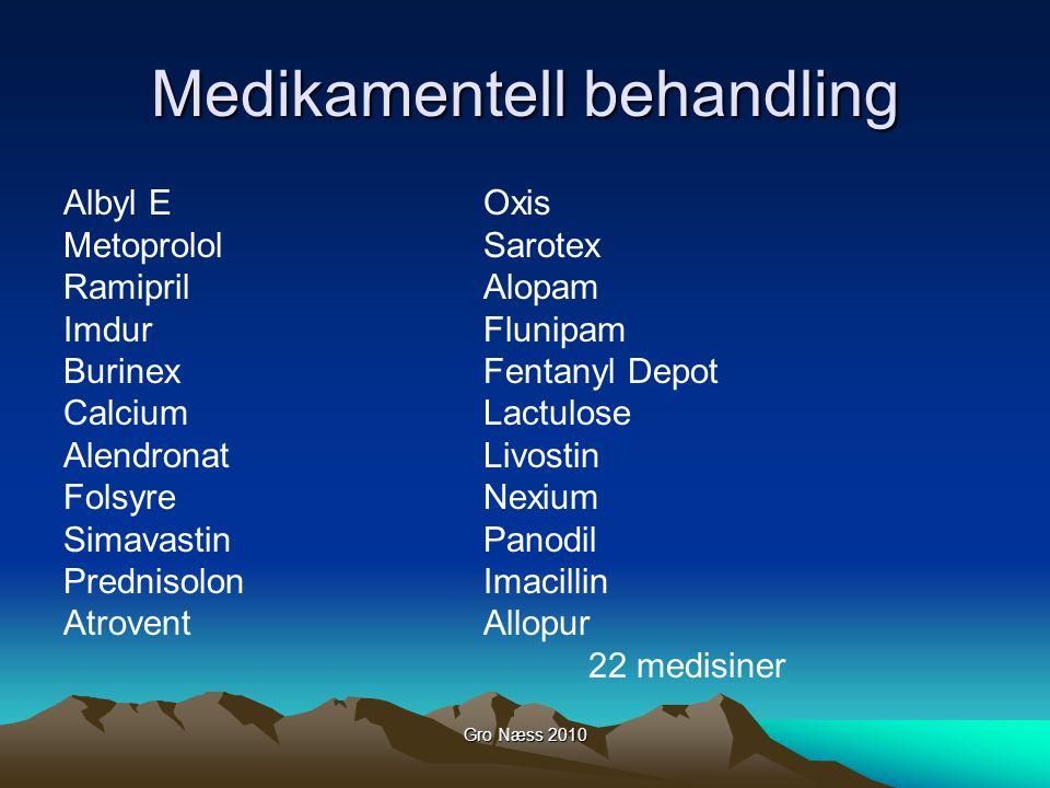 Gro Næss 2010 Medikamentell behandling Albyl EOxis MetoprololSarotex RamiprilAlopam ImdurFlunipam BurinexFentanyl Depot CalciumLactulose AlendronatLiv