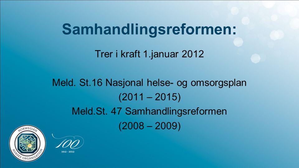 Samhandlingsreformen: Trer i kraft 1.januar 2012 Meld.