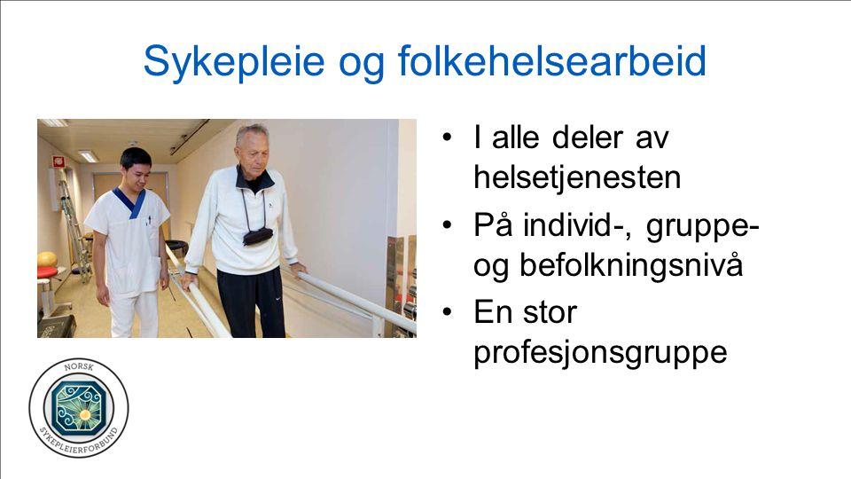 Sykepleie og folkehelsearbeid I alle deler av helsetjenesten På individ-, gruppe- og befolkningsnivå En stor profesjonsgruppe