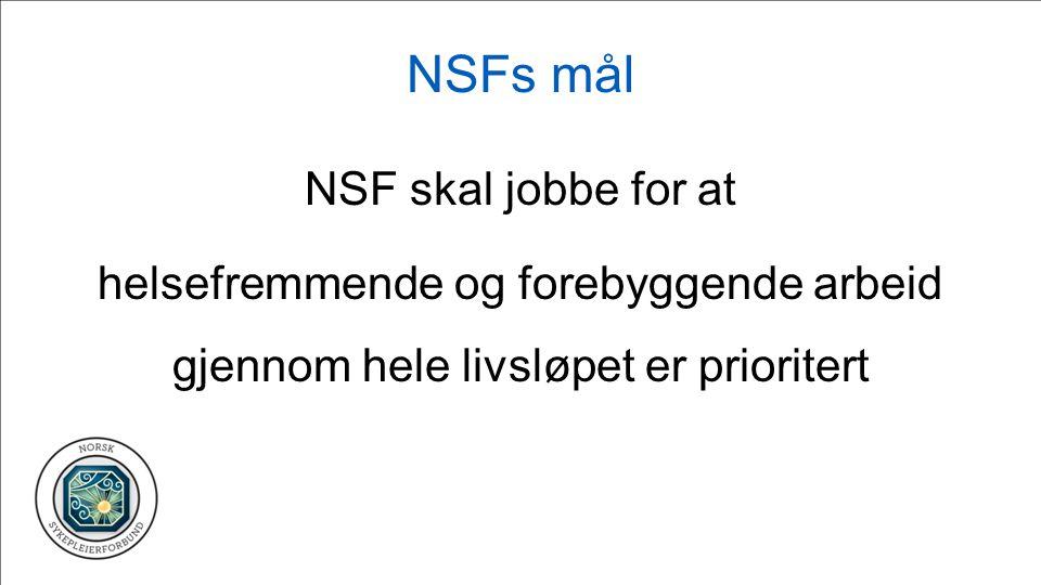 NSFs mål for ledelse Sykepleiere leder eget fag og sykepleietjenesten, har lederansvar på alle nivåer i helsetjenesten, og bidrar til en faglig forsvarlig, samordnet og effektiv helsetjeneste av høy kvalitet.