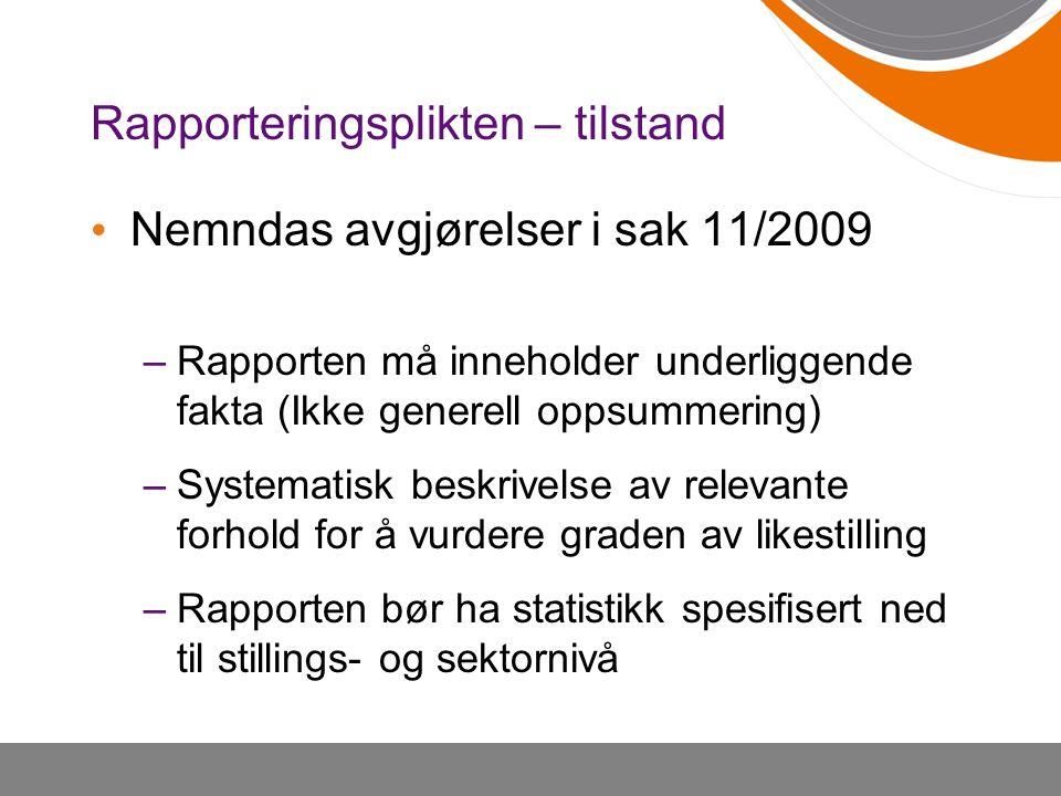 Rapporteringsplikten – tilstand Nemndas avgjørelser i sak 11/2009 –Rapporten må inneholder underliggende fakta (Ikke generell oppsummering) –Systemati