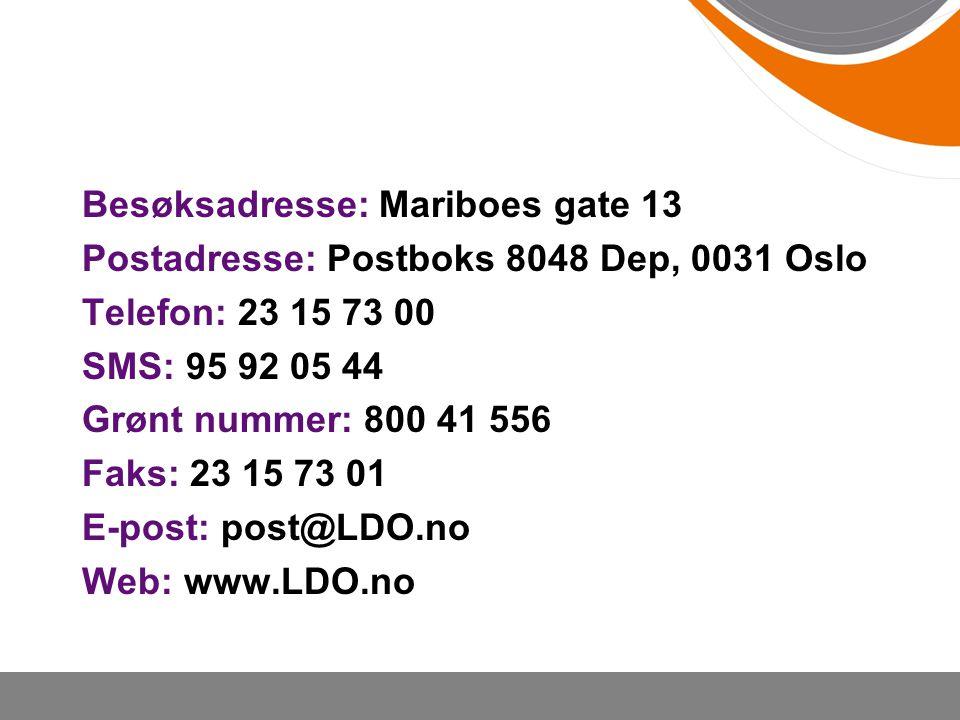 Besøksadresse: Mariboes gate 13 Postadresse: Postboks 8048 Dep, 0031 Oslo Telefon: 23 15 73 00 SMS: 95 92 05 44 Grønt nummer: 800 41 556 Faks: 23 15 7