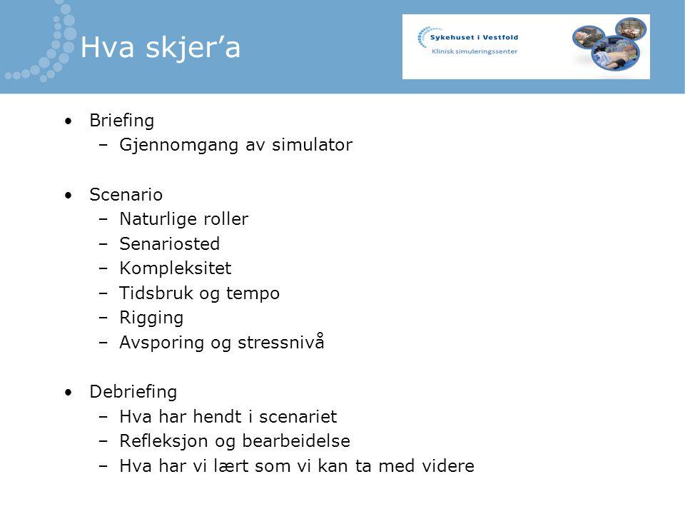 Hva skjer'a Briefing –Gjennomgang av simulator Scenario –Naturlige roller –Senariosted –Kompleksitet –Tidsbruk og tempo –Rigging –Avsporing og stressnivå Debriefing –Hva har hendt i scenariet –Refleksjon og bearbeidelse –Hva har vi lært som vi kan ta med videre