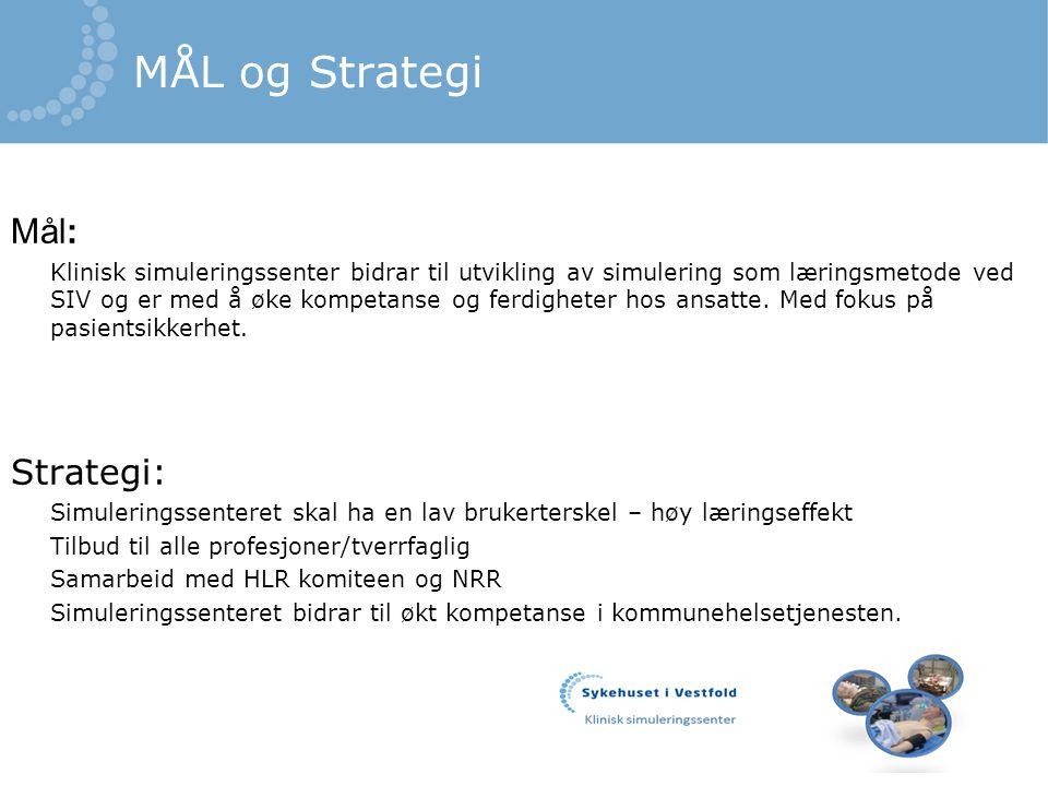 MÅL og Strategi Mål: Klinisk simuleringssenter bidrar til utvikling av simulering som læringsmetode ved SIV og er med å øke kompetanse og ferdigheter hos ansatte.