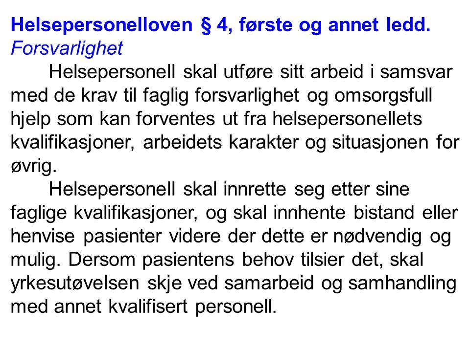 Helsepersonelloven § 5.