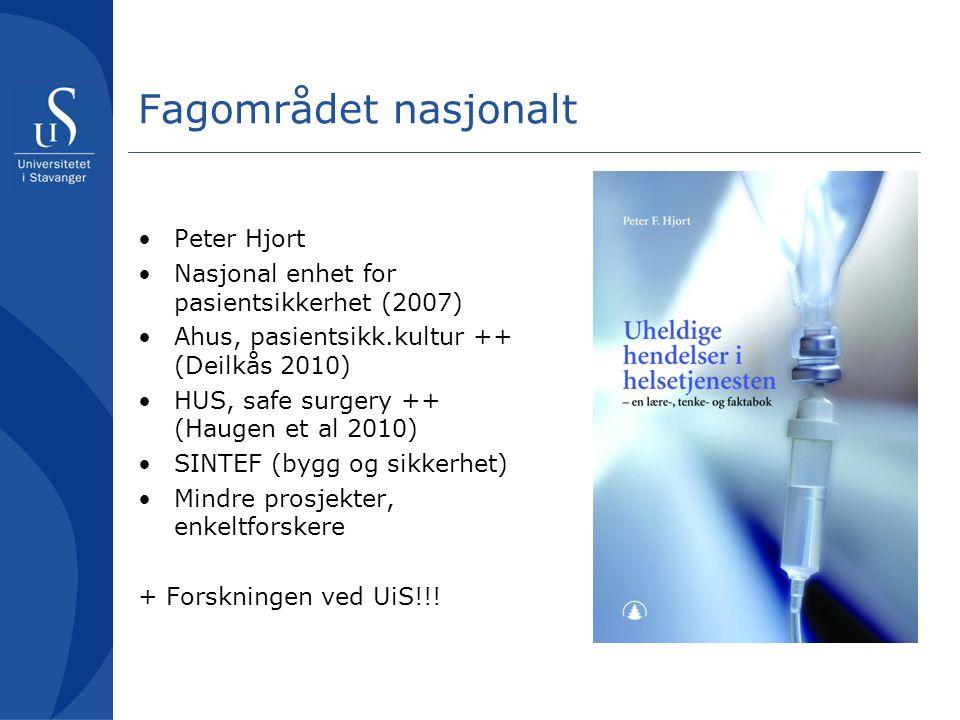 Fagområdet nasjonalt Peter Hjort Nasjonal enhet for pasientsikkerhet (2007) Ahus, pasientsikk.kultur ++ (Deilkås 2010) HUS, safe surgery ++ (Haugen et