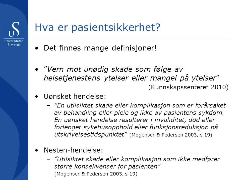 """Hva er pasientsikkerhet? Det finnes mange definisjoner! """"Vern mot unødig skade som følge av helsetjenestens ytelser eller mangel på ytelser"""" (Kunnskap"""