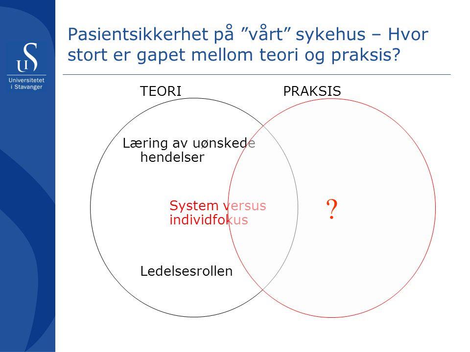 """Pasientsikkerhet på """"vårt"""" sykehus – Hvor stort er gapet mellom teori og praksis? TEORI Læring av uønskede hendelser System versus individfokus Ledels"""