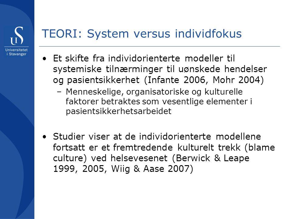 TEORI: System versus individfokus Et skifte fra individorienterte modeller til systemiske tilnærminger til uønskede hendelser og pasientsikkerhet (Inf