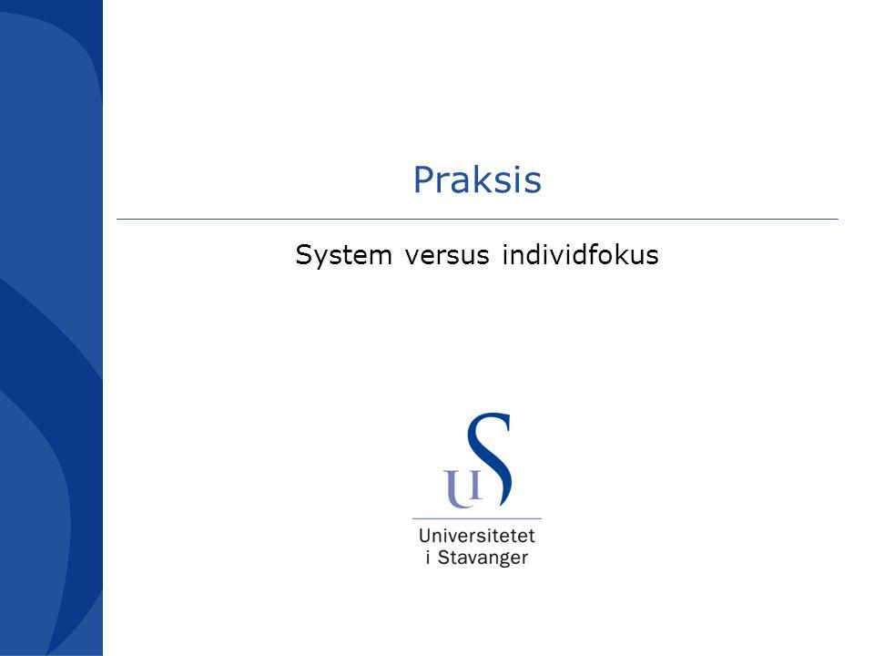 Praksis System versus individfokus