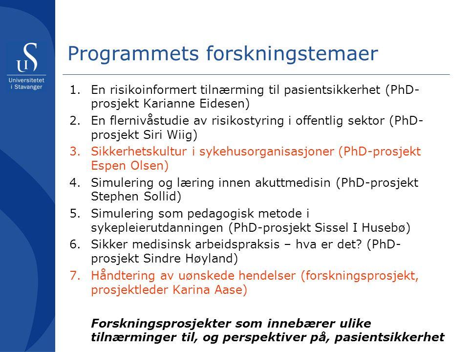 Programmets forskningstemaer 1.En risikoinformert tilnærming til pasientsikkerhet (PhD- prosjekt Karianne Eidesen) 2.En flernivåstudie av risikostyrin