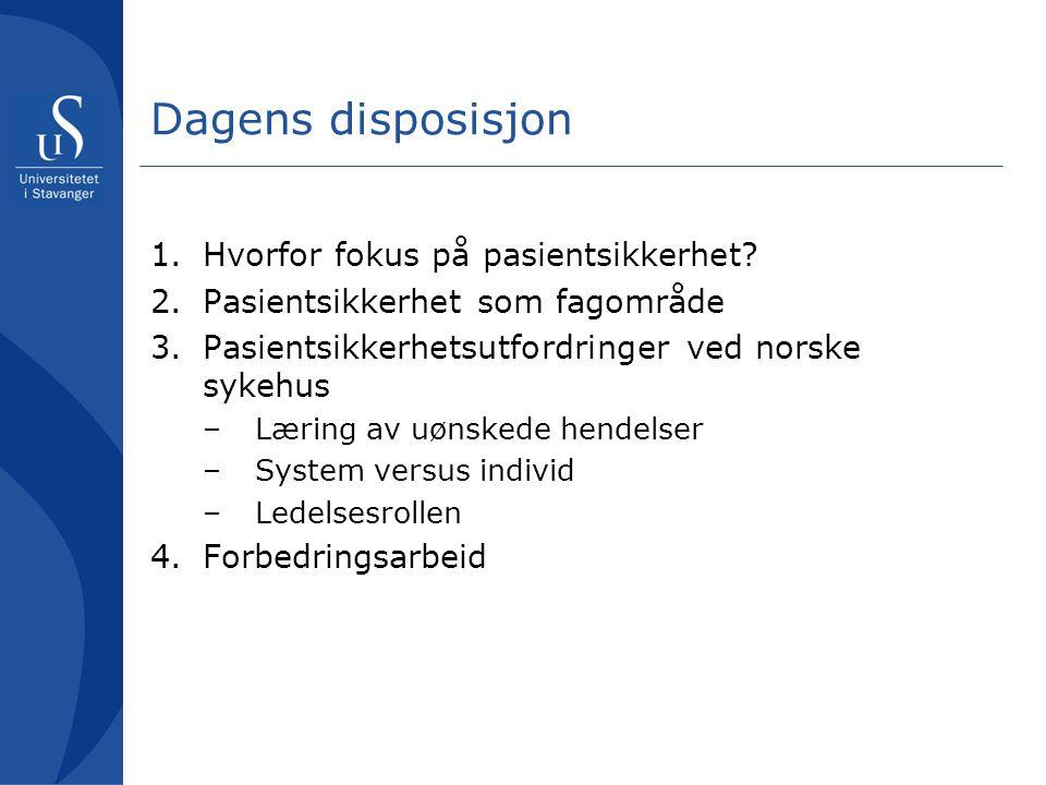 Dagens disposisjon 1.Hvorfor fokus på pasientsikkerhet? 2.Pasientsikkerhet som fagområde 3.Pasientsikkerhetsutfordringer ved norske sykehus –Læring av
