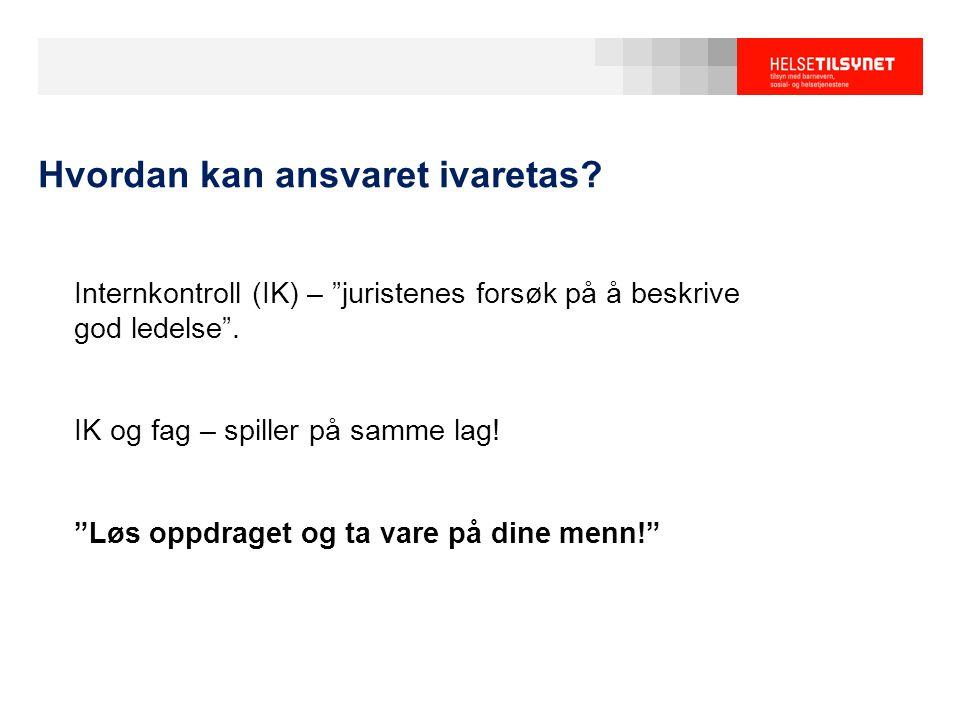 Internkontroll (IK) – juristenes forsøk på å beskrive god ledelse .