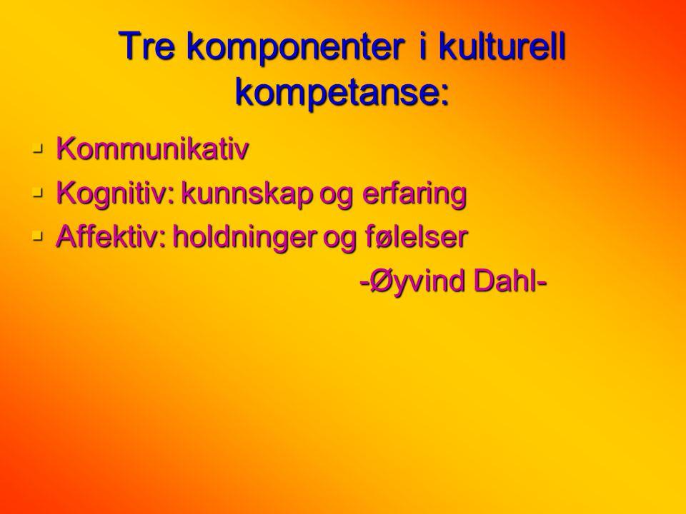 Tre komponenter i kulturell kompetanse:  Kommunikativ  Kognitiv: kunnskap og erfaring  Affektiv: holdninger og følelser -Øyvind Dahl- -Øyvind Dahl-