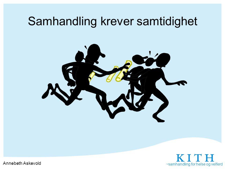~samhandling for helse og velferd Samhandling krever samtidighet Annebeth Askevold