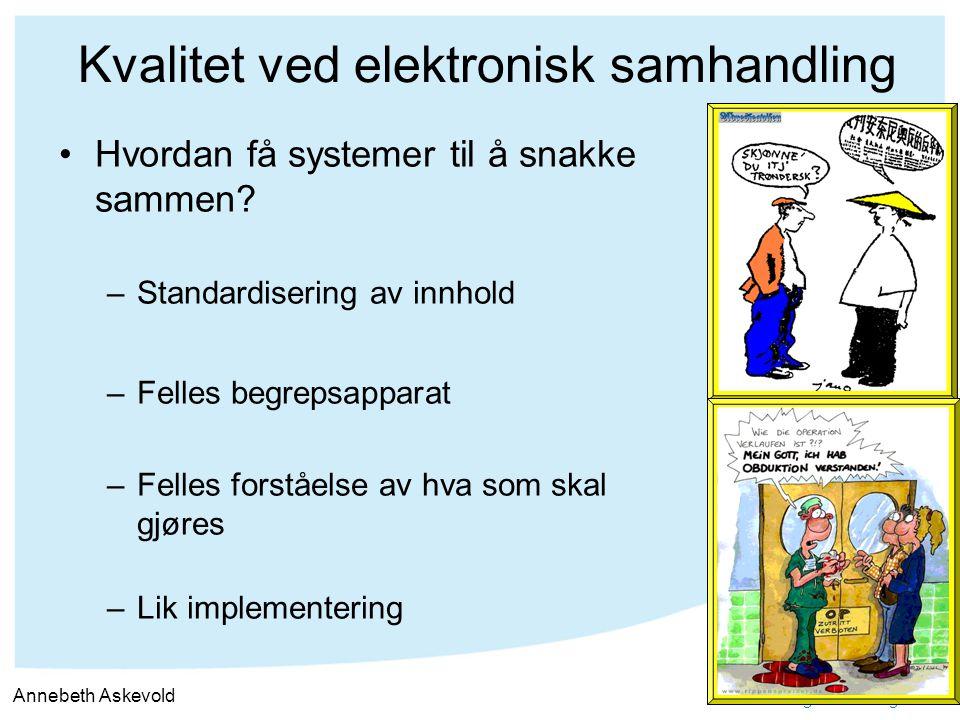 ~samhandling for helse og velferd Kvalitet ved elektronisk samhandling Hvordan få systemer til å snakke sammen? –Standardisering av innhold –Felles be