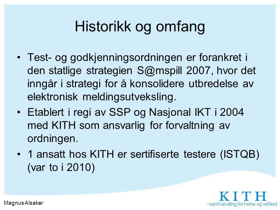 ~samhandling for helse og velferd Testserver, http://testserver.kith.nohttp://testserver.kith.no –Valideringsfiler for automatisk testing av xml-filer i henhold til standard –Sjekk av syntaks –Sjekk av semantikk –ebXML Akseptansetester og godkjenning av xml- meldingsstandarder Visningsfiler for meldinger Meldingshjelp (meldingshjelp@kith.no)meldingshjelp@kith.no Arbeidsmøter med sektoren Besøk hos leverandør og nettbasert gjennomgang Dagens sertifiseringsordning