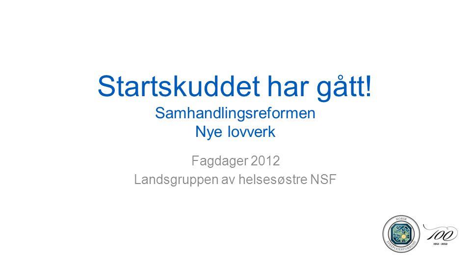 Startskuddet har gått! Samhandlingsreformen Nye lovverk Fagdager 2012 Landsgruppen av helsesøstre NSF