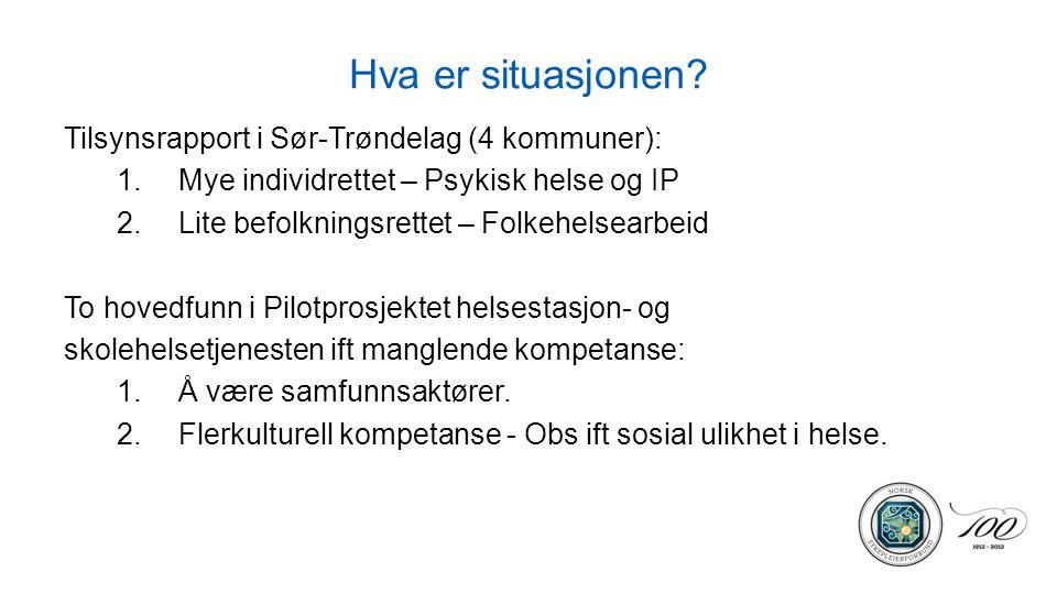Hva er situasjonen? Tilsynsrapport i Sør-Trøndelag (4 kommuner): 1.Mye individrettet – Psykisk helse og IP 2.Lite befolkningsrettet – Folkehelsearbeid