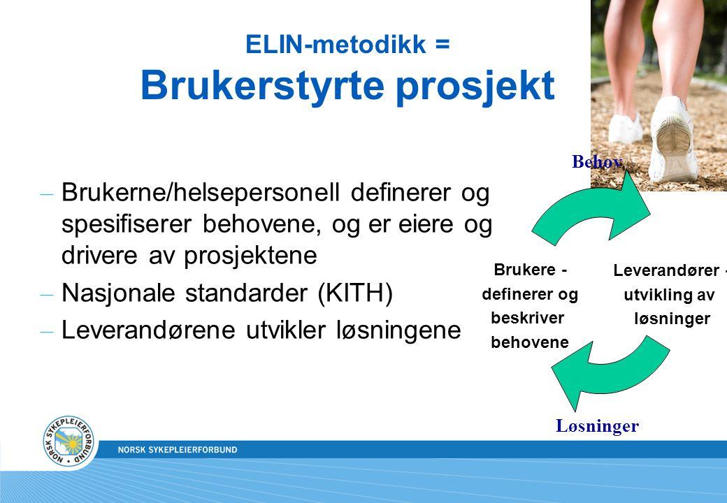 ELIN-metodikk = Brukerstyrte prosjekt – Brukerne/helsepersonell definerer og spesifiserer behovene, og er eiere og drivere av prosjektene – Nasjonale
