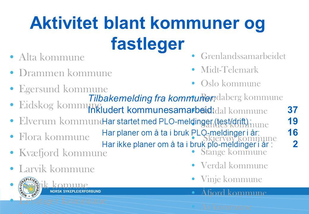 Aktivitet blant kommuner og fastleger Alta kommune Drammen kommune Egersund kommune Eidskog kommune Elverum kommune Flora kommune Kvæfjord kommune Lar