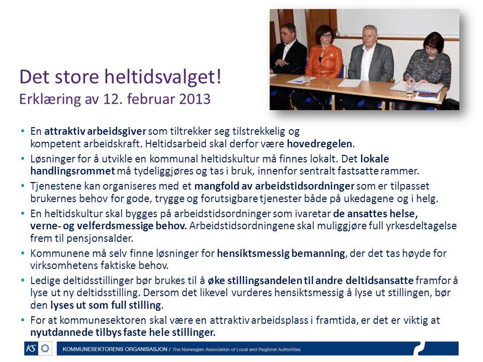 Det store heltidsvalget! Erklæring av 12. februar 2013 En attraktiv arbeidsgiver som tiltrekker seg tilstrekkelig og kompetent arbeidskraft. Heltidsar