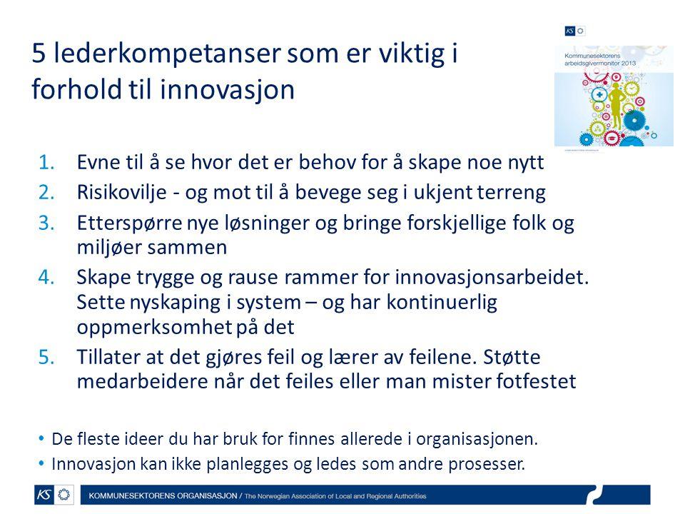 5 lederkompetanser som er viktig i forhold til innovasjon 1.Evne til å se hvor det er behov for å skape noe nytt 2.Risikovilje - og mot til å bevege s