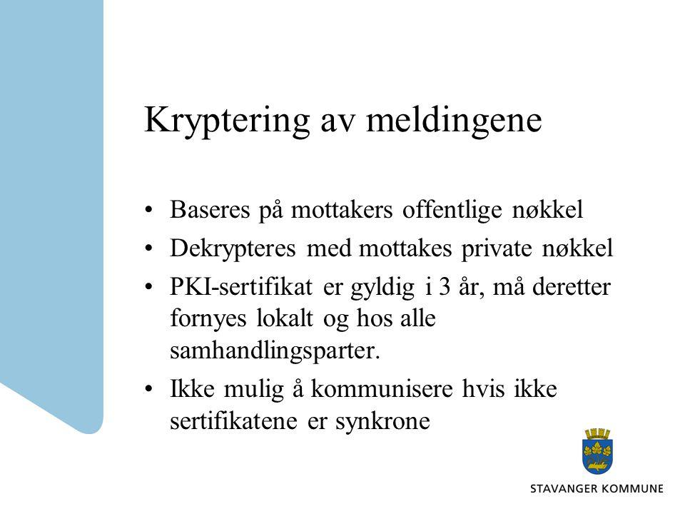 Kryptering av meldingene Baseres på mottakers offentlige nøkkel Dekrypteres med mottakes private nøkkel PKI-sertifikat er gyldig i 3 år, må deretter f