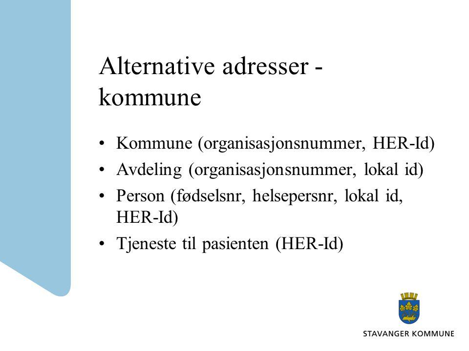 Alternative adresser - kommune Kommune (organisasjonsnummer, HER-Id) Avdeling (organisasjonsnummer, lokal id) Person (fødselsnr, helsepersnr, lokal id