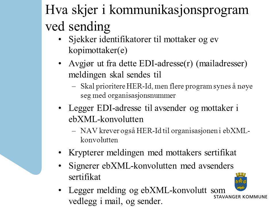 Hva skjer i kommunikasjonsprogram ved sending Sjekker identifikatorer til mottaker og ev kopimottaker(e) Avgjør ut fra dette EDI-adresse(r) (mailadres