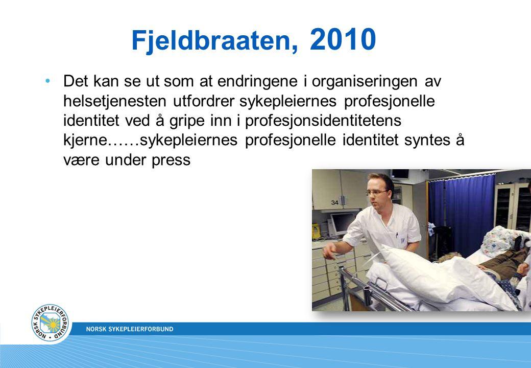 Fjeldbraaten, 2010 Det kan se ut som at endringene i organiseringen av helsetjenesten utfordrer sykepleiernes profesjonelle identitet ved å gripe inn