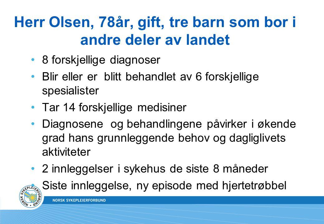 Herr Olsen, 78år, gift, tre barn som bor i andre deler av landet 8 forskjellige diagnoser Blir eller er blitt behandlet av 6 forskjellige spesialister
