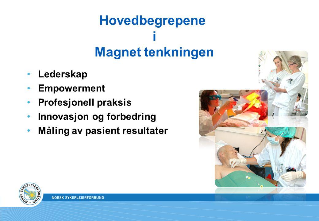 Hovedbegrepene i Magnet tenkningen Lederskap Empowerment Profesjonell praksis Innovasjon og forbedring Måling av pasient resultater