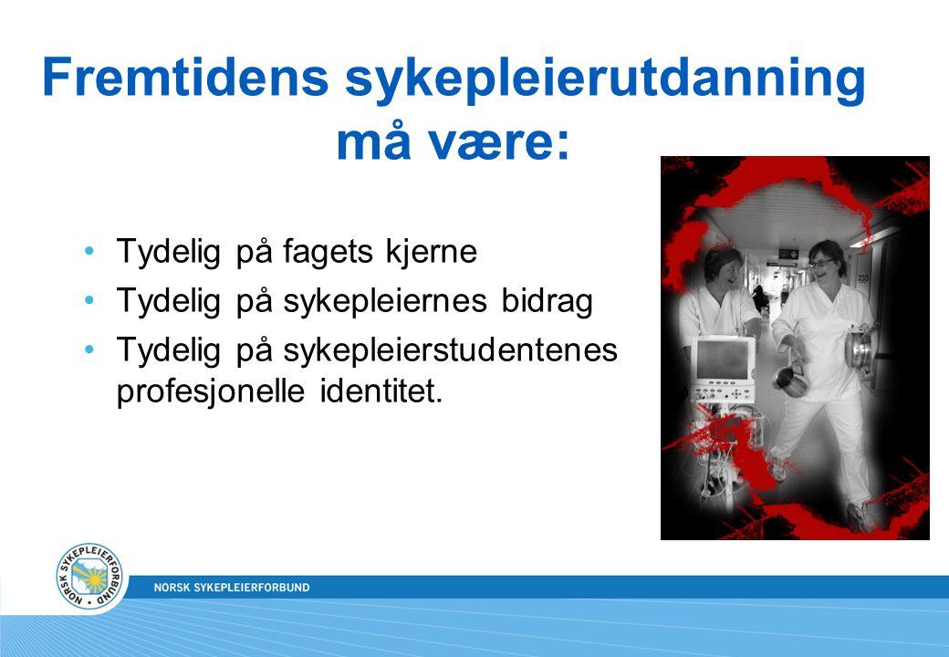 Fremtidens sykepleierutdanning må være: Tydelig på fagets kjerne Tydelig på sykepleiernes bidrag Tydelig på sykepleierstudentenes profesjonelle identi