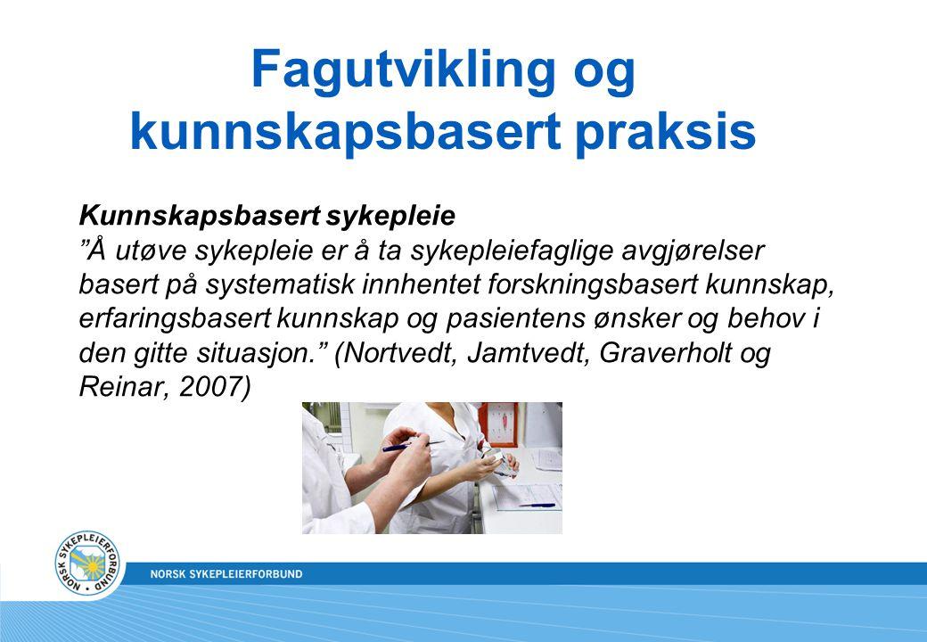 """Fagutvikling og kunnskapsbasert praksis Kunnskapsbasert sykepleie """"Å utøve sykepleie er å ta sykepleiefaglige avgjørelser basert på systematisk innhen"""