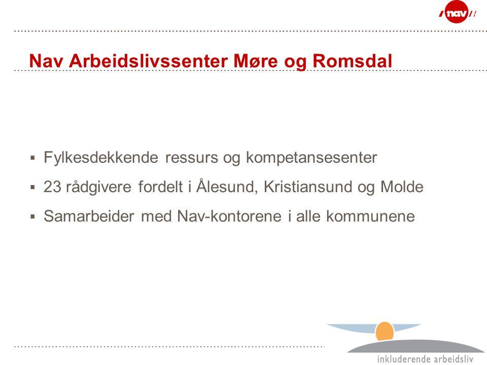 Side 2 Nav Arbeidslivssenter Møre og Romsdal  Fylkesdekkende ressurs og kompetansesenter  23 rådgivere fordelt i Ålesund, Kristiansund og Molde  Sa