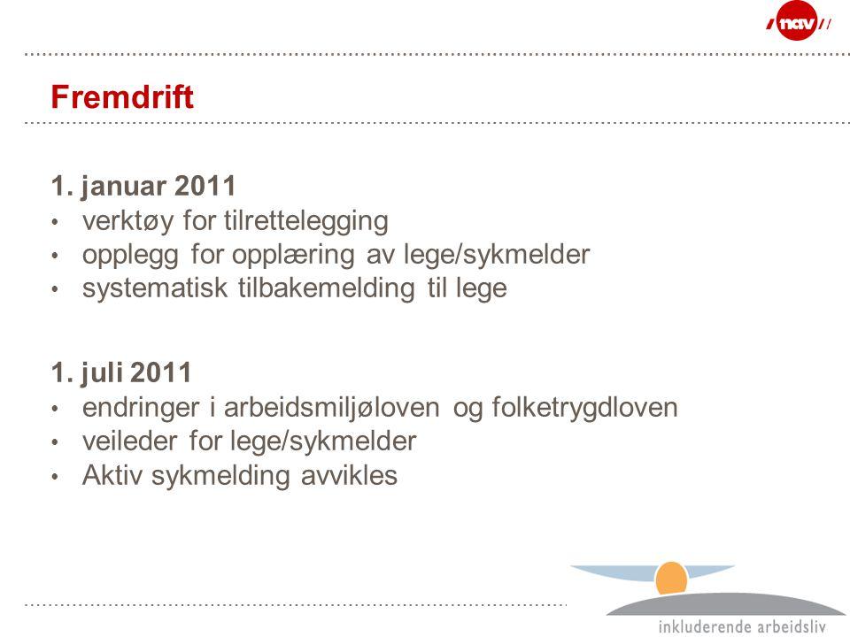 Side 35 Fremdrift 1. januar 2011 verktøy for tilrettelegging opplegg for opplæring av lege/sykmelder systematisk tilbakemelding til lege 1. juli 2011
