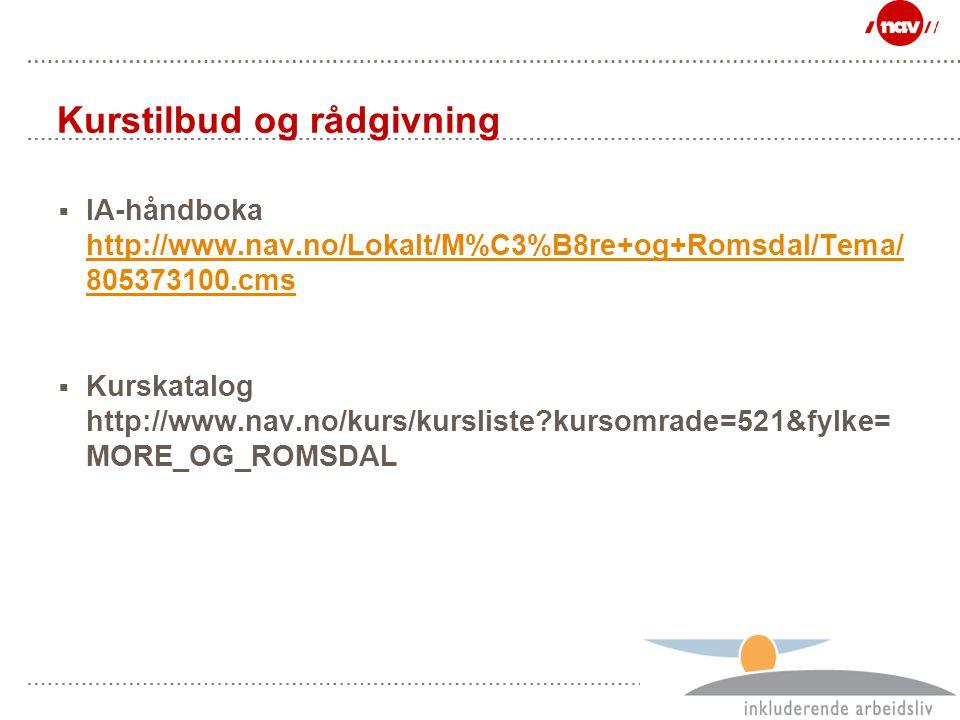 Side 37 Kurstilbud og rådgivning  IA-håndboka http://www.nav.no/Lokalt/M%C3%B8re+og+Romsdal/Tema/ 805373100.cms http://www.nav.no/Lokalt/M%C3%B8re+og